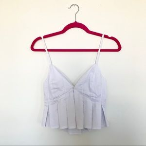 Signature 8 White Pleated Crop Top, Small